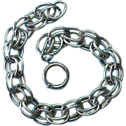 Vintage Sterling Silver Double Link Charm Bracelet -1930s