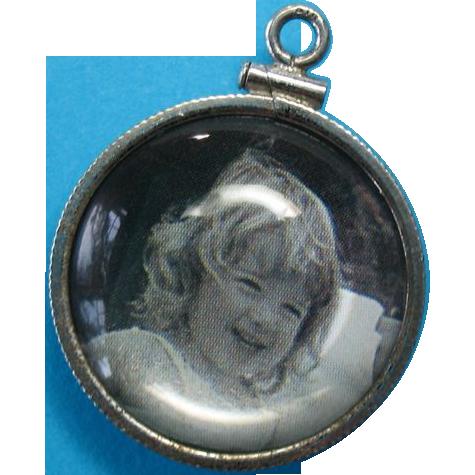 Vintage Sterling Acrylic Bubble Picture Pendant Charm