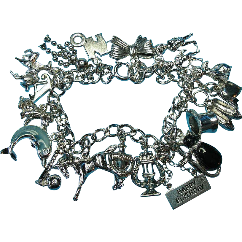 Vintage 1950s Sterling Silver Bracelet - Mixed Charms