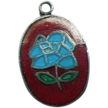 Victorian Sterling Enameled Flower Charm