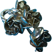Vintage Sterling Raffaele Vine Of Roses Brooch