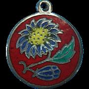 Vintage Sterling Silver Enameled Floral Charm