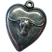 Vintage Sterling Western Longhorn Cattle Puffy Heart Charm