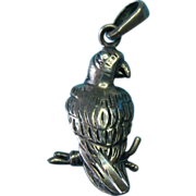 Vintage Sterling Silver Wild Parrot Pendant Or Charm