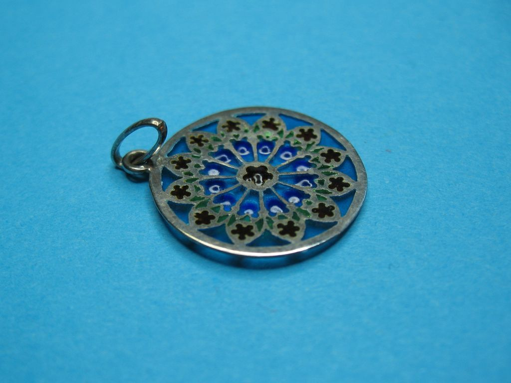 Vintage Sterling Silver Plique A Jour Necklace Pendant