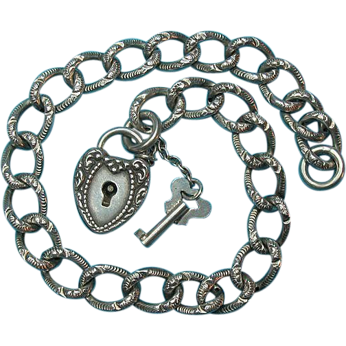 Victorian Sterling  Bracelet & Puffy Heart Padlock With Key Charm