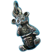 Vintage Sterling Sitting Bear With Honey Pot Charm