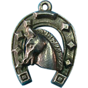 Vintage European German 835 Silver Lucky Horse & Shoe Charm