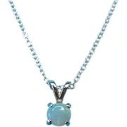 Vintage Sterling Silver Fire Opal Necklace Charm Pendant