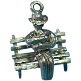 Vintage Sterling Silver Park Bench Charm With A Man Snoozing