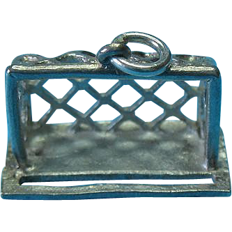 Vintage Sterling Silver Rare Goal Net Charm