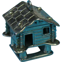 Vintage 800 Silver Cabin Charm On Stilts