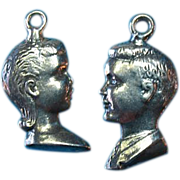 Vintage Sterling Silver Girl & Boy Profile Charm Set - Gorgeous