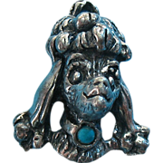 Vintage Rare Silver Tone Metal Poodle Charm With Colored Stone
