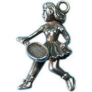Vintage Sterling Silver Charm Female Tennis Player