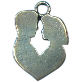 Vintage Sterling Man & Woman Heart Silhouette Charm