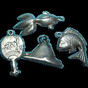 Vintage 900 Silver Theme Oriental & Japanese Bracelet Charms