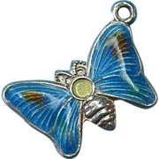 Vintage Silver Enameled Butterfly Charm 1960s