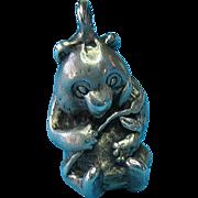 Vintage Sterling Silver Sitting Japanese Panda Bear Charm
