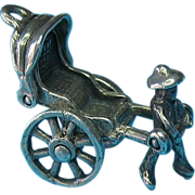 Vintage Sterling Rickshaw Walker Charm - Moves