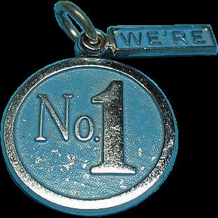 Vintage Sterling Silver Enamel  We're No.1 Bracelet Charms