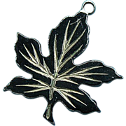 Vintage Sterling Halloween 1940s Rare Black Enamel Maple Leaf Charm