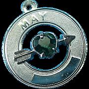 Vintage Sterling May Birthday Emerald Rhinestone Charm