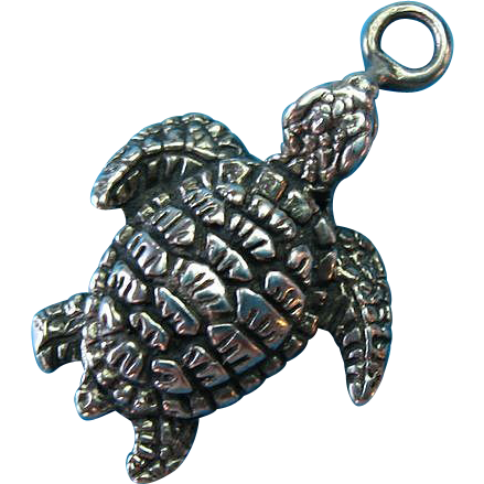 Vintage Sterling Silver Sea Turtle Charm