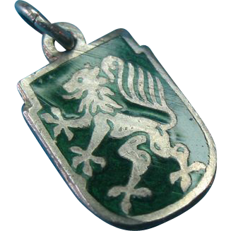 Vintage 900 Silver Enamel Coat Of Arms Shield Charm