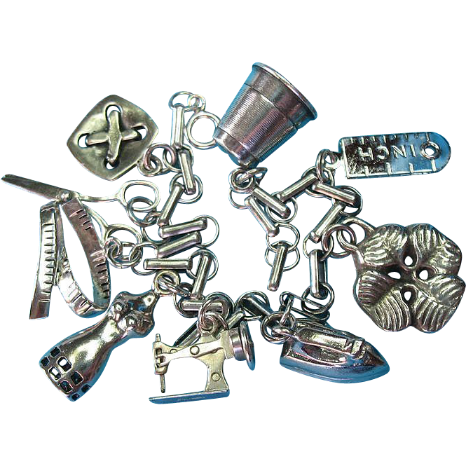 Vintage Sterling Silver Sewing Theme Charm Bracelet