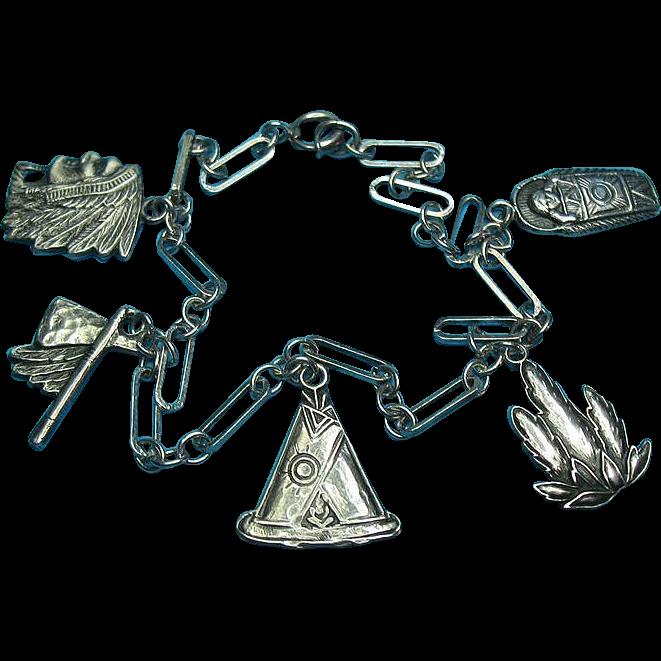 1911 UNCUS Rare Indian Theme Charm Bracelet
