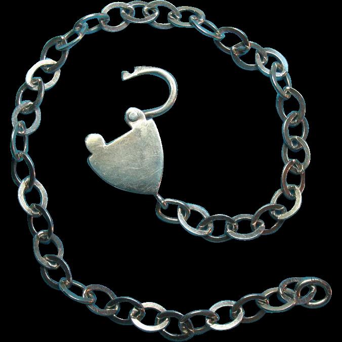 Vintage Sterling Silver c1940s Heart Padlock Bracelet
