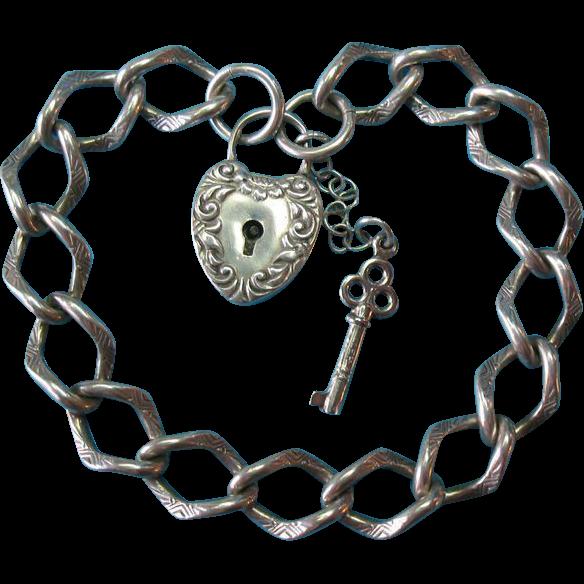 Victorian Sterling Silver Embossed Link Charm Bracelet