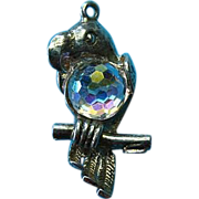 Vintage Sterling Silver Parrot With Iridescent Rhinestone Charm