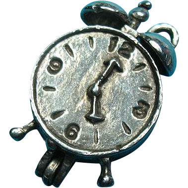 Vintage Silver Alarm Clock Charm Opens to Rooster