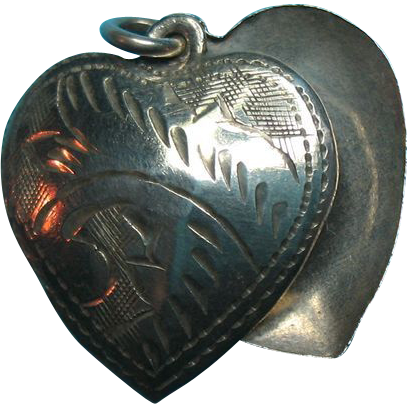 Vintage Sterling  Engraved Floating Heart Charms