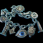 Vintage Silver Charm Bracelet U.S Hidden Symbols Of The Illuminati
