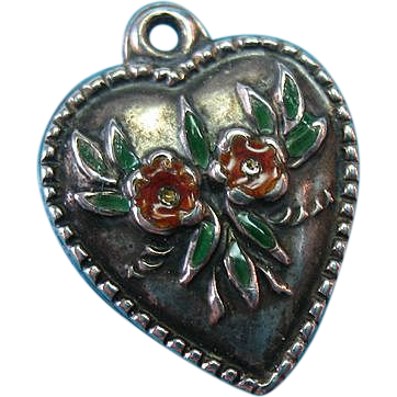"Vintage Sterling Silver 1940s Glass Enamel ""Forget Me Not"" Floral Puffy Heart Charm"
