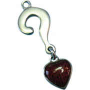 Vintage Sterling Red Guilloche Heart and Question Mark Charm