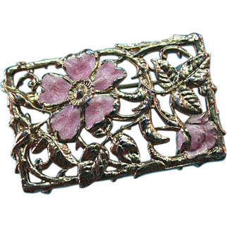 Vintage Gold Plated Brooch Pin Pink Enamel Wild Rose