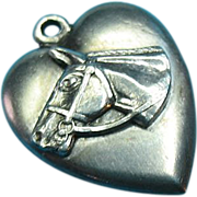 Vintage Sterling Silver Horse Head Puffy Heart Charm