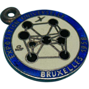 Vintage Rare Enamel 835 Silver Atomium Charm 1958 World Expo Brussels