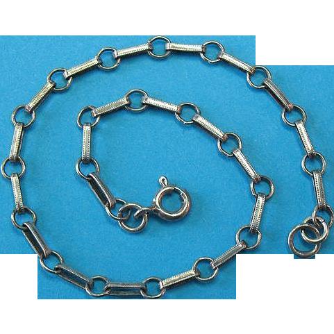 Victorian Sterling Silver Dainty Dot Dash Link Charm Bracelet