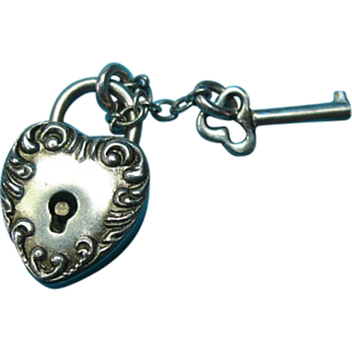 Victorian Sterling Rare Mini Puffy Heart Padlock Key Charm