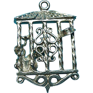 Vintage Silver Rare Garden Window Trellis Charm Scenes On Each Side