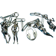 Vintage Sterling Silver Nude Models Risqué Lovers Key Hole Charm Bracelet