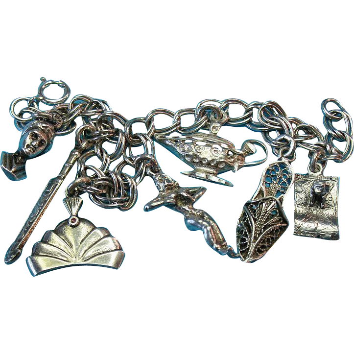 Vintage Silver Arabian Nights Aladdin Charm Bracelet