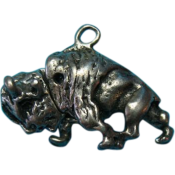 Vintage Sterling Silver Rare Buffalo Charm Head Moves