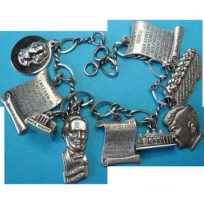 Vintage Sterling Silver Presidential History Theme Charm Bracelet