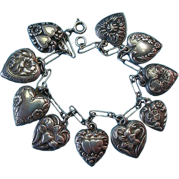 Victorian and 1940s Sterling Silver Puffy Heart Charm Bracelet